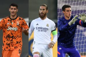 Alvaro Morata of Juventus, Sergio Ramos of Real Madrid, Kepa Arrizabalaga of Cheslea