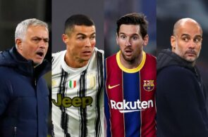 Jose Mourinho Tottenham, Cristiano Ronaldo of Juventus, Lionel Messi of FC Barcelona, Pep Guardiola of Manchester City
