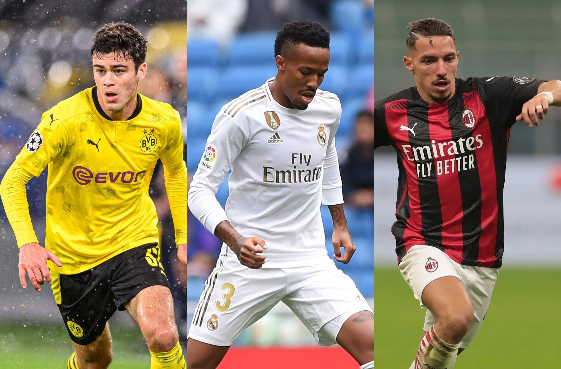 Giovanni Reyna of Borussia Dortmund, Eder Militao of Real Madrid, Ismael Bennacer of AC Milan