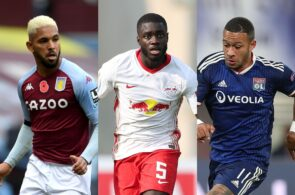 Douglas Luiz of West Ham, Dayot Upamecano of RB Leipzig, Memphis Depay of Olympique Lyon