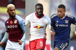 Douglas Luiz of West Ham, Dayot Upamecano of RB Leipzig, Memphis Depay of Olympique Lyon