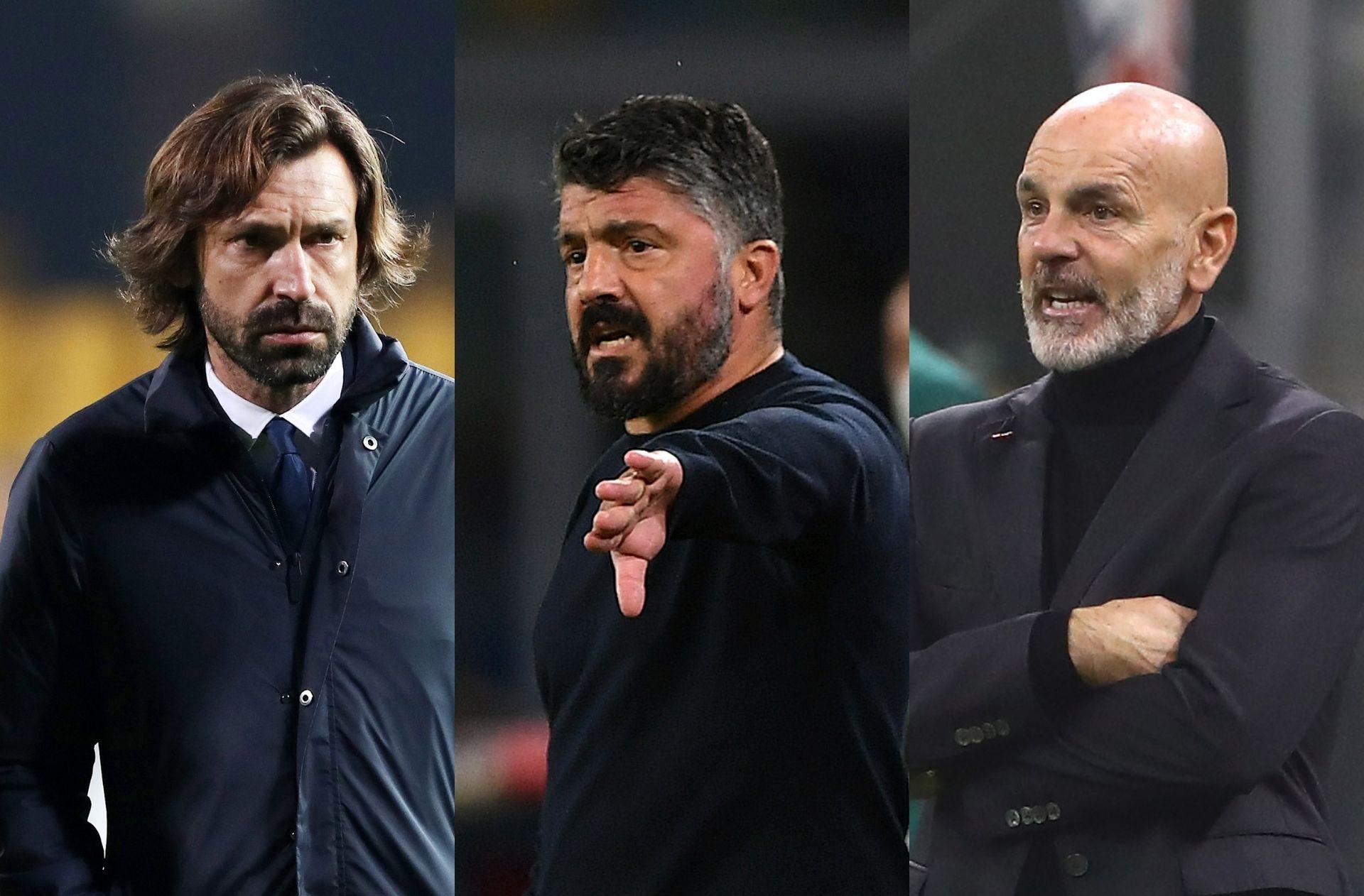 Andrea Pirlo of Juventus, Gennaro Gattuso of Napoli, Stefano Pioli of AC Milan