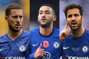 Eden Hazard, Hakim Ziyech, Cesc Fabregas, Chelsea