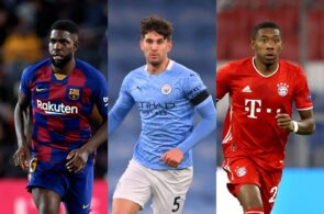 Samuel Umtiti of FC Barcelona, John Stones of Manchester City, David Alaba of Bayern Munich
