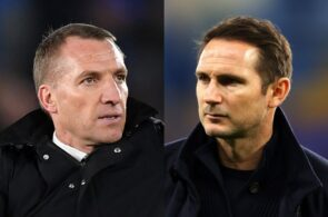 Brendan Rodgers of Leicester City, Frank Lampard of Chelsea
