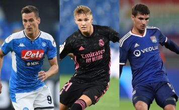 Arkadiusz Milik of Napoli, Martin Odegaard of Real Madrid, Houssem Aouar of Lyon