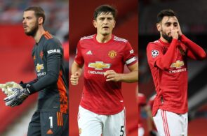 David de Gea, Harry Maguire, Bruno Fernandes - Manchester United