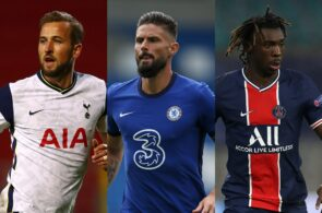 Harry Kane of Tottenham, Olivier Giroud of Chelsea, Moise Kean of Paris Saint-Germain