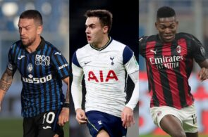 Alejandro Gomez of Atalanta, Sergio Reguilon of Tottenham, Rafael Leao of AC Milan