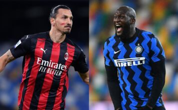 Zlatan Ibrahimovic of AC Milan, Romelu Lukaku of Inter Milan