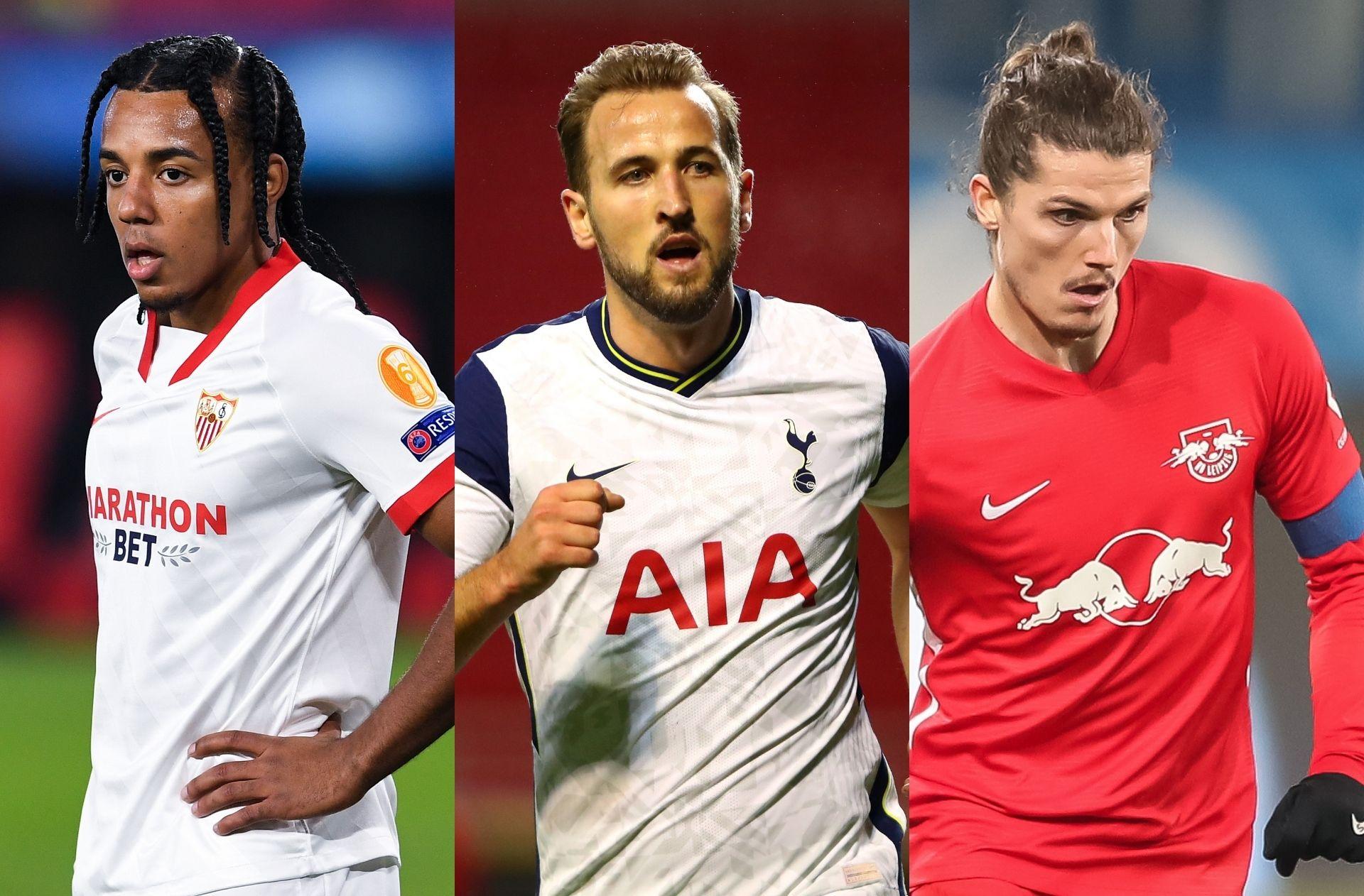 Jules Kounde of Sevilla, Harry Kane of Tottenham, Marcel Sabitzer of RB Salzburg