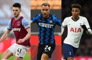 Declan Rice of West Ham, Christian Eriksen of Inter Milan, Gedson Fernandes of Tottenham