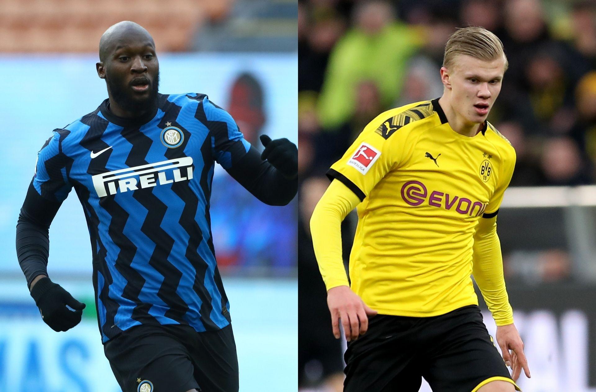 Romelu Lukaku of Inter Milan, Erling Haaland of Borussia Dortmund