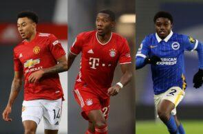 Jesse Lingard of Manchester United, David Alaba of Bayern Munich, Tariq Lamptey of Brighton