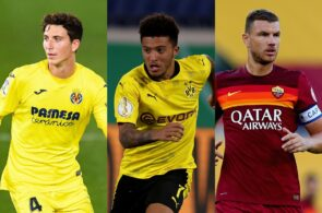 Pau Torres of Villarreal, Jadon Sancho of Borussia Dortmund, Edin Dzeko of AS Roma