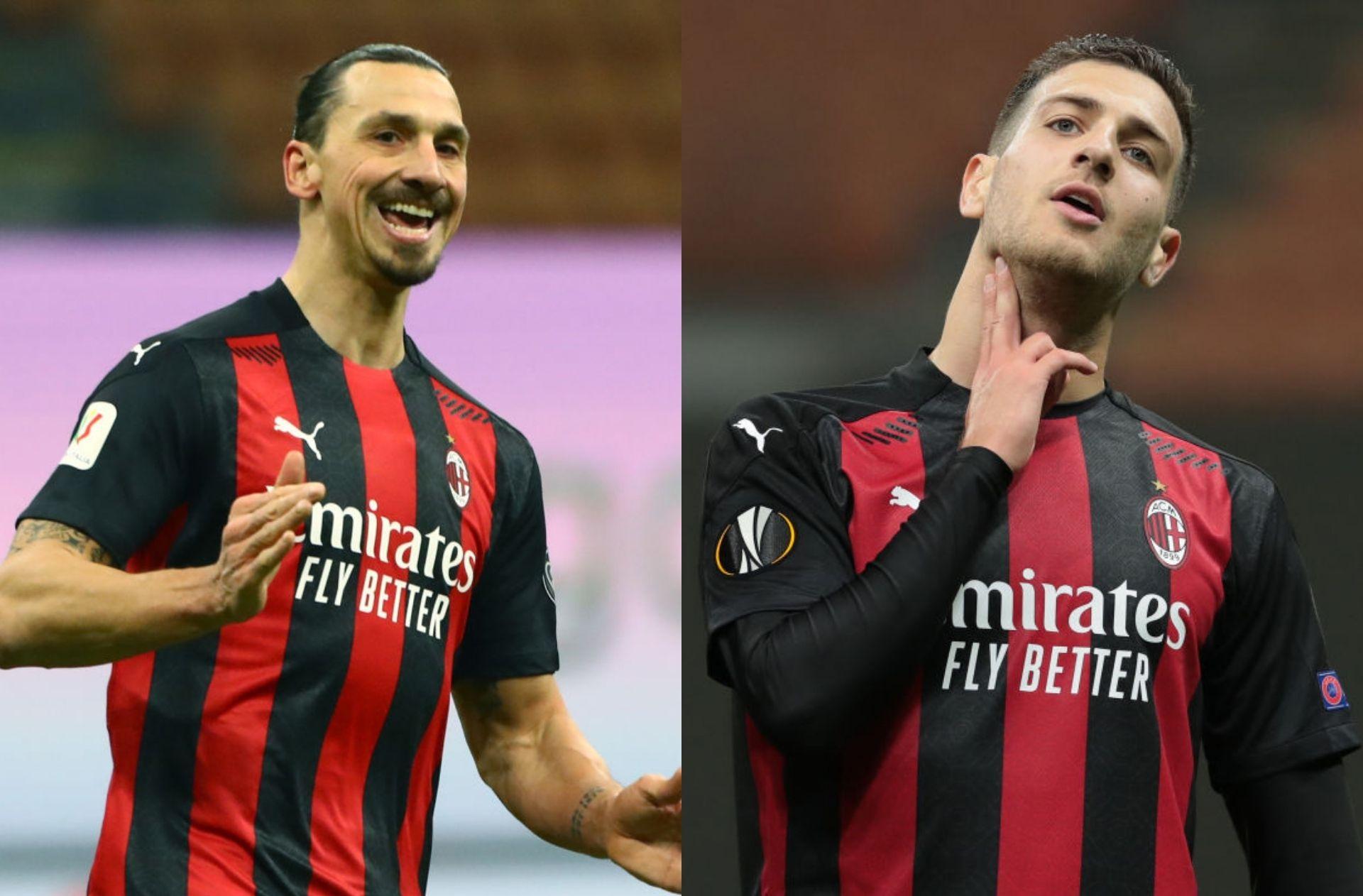 Zlatan Ibrahimovic and Diogo Dalot, AC Milan