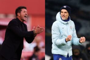Diego Simeone of Atletico Madrid, Thomas Tuchel of Chelsea