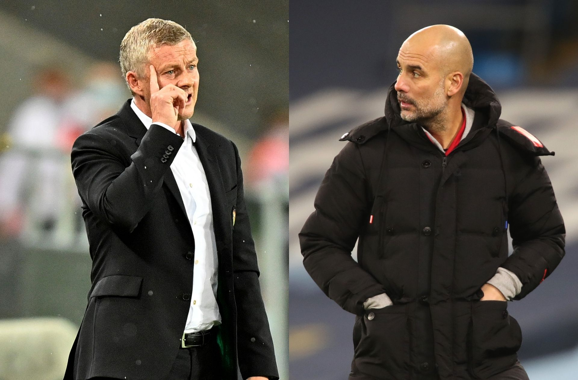 Ole Gunnar Solskjaer of Manchester United, Pep Guardiola of Manchester City