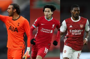 Paulo Gazzaniga of Tottenham, Takumi Minamino of Liverpool, Ainsley Maitland-Niles of Arsenal