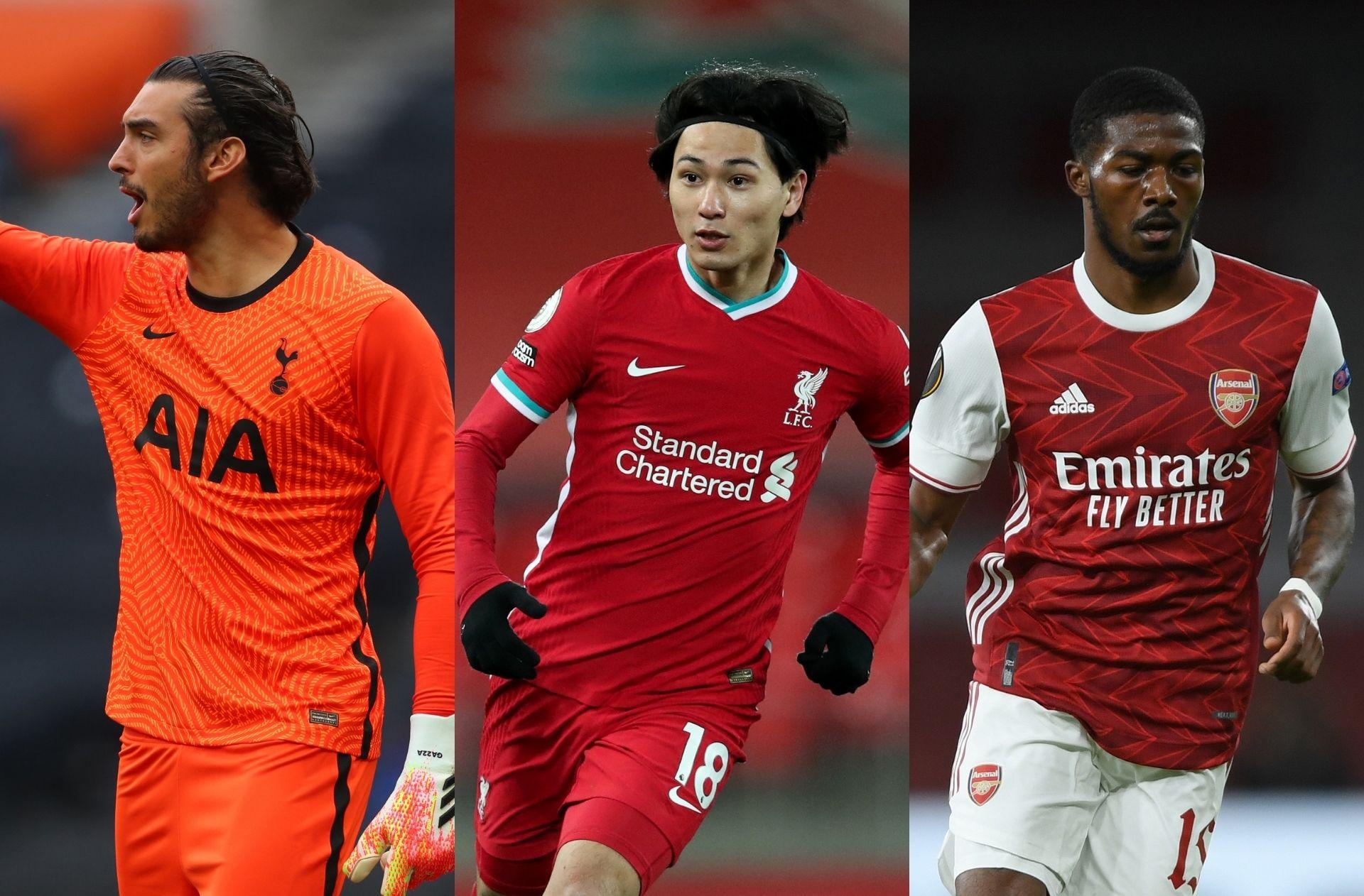 Paulo Gazzaniga of Tottenham, Takumi Minamino of Liverpool, Ainsley Maitland-Niles of Arsenal