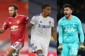 Juan Mata of Manchesteter United, Raphinha of Leeds United, Paulo Gazzaniga of Tottenham