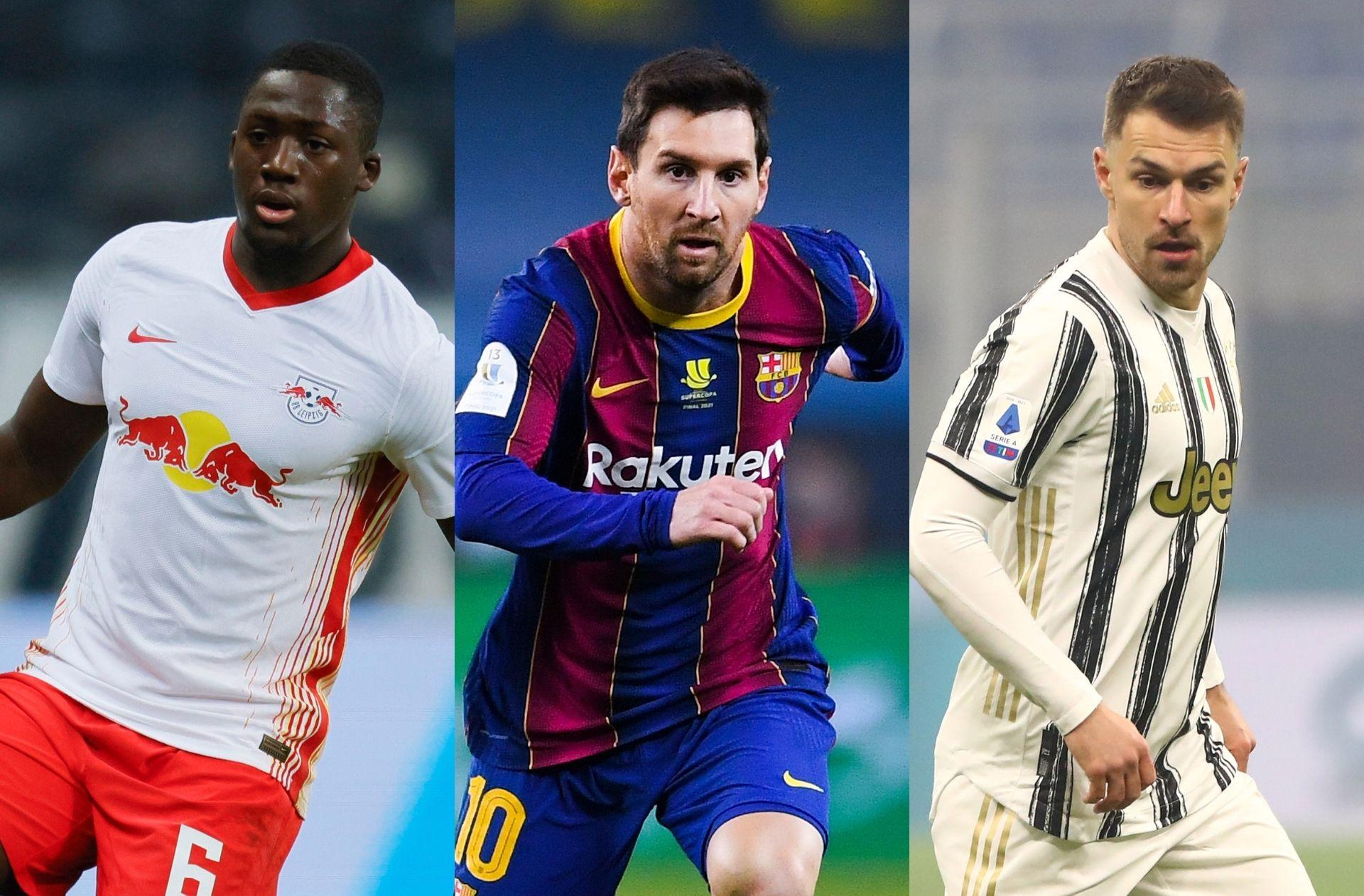 Ibrahima Konate of RB Leipzig, Lionel Messi of FC Barcelona, Aaron Ramsey of Juventus