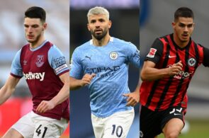 Declan Rice of West Ham, Sergio Aguero of Manchester City, Andrea Silva of Eintracht Frankfurt