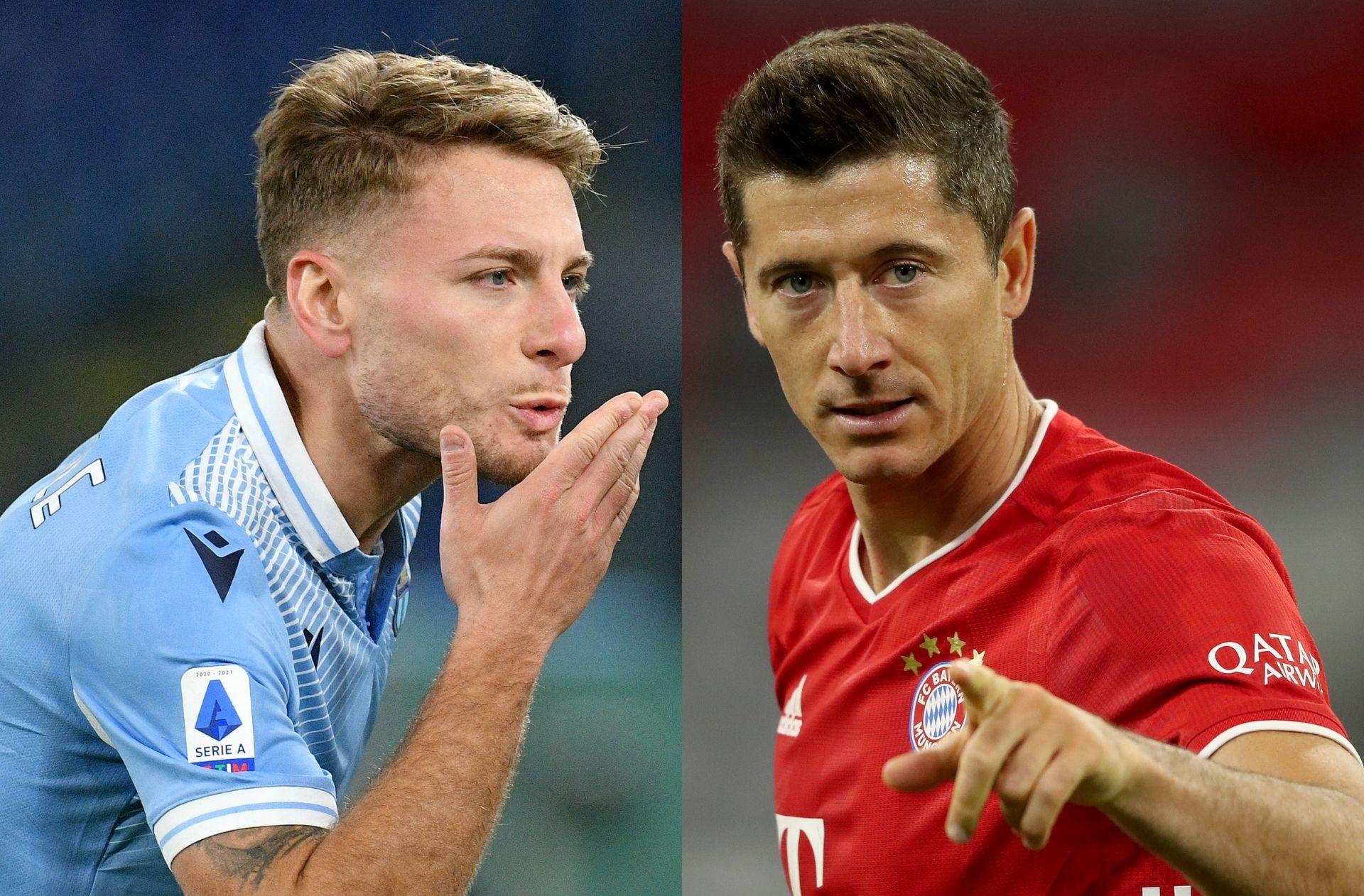 Ciro Immobile of Lazio, Robert Lewandowski of Bayern Munich