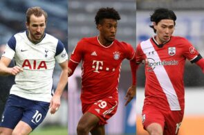 Harry Kane of Tottenham, Kingsley Coman of Bayern Munich, Takumi Minamino of Liverpool