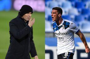 Zinedine Zidane of Real Madrid, Robin Gosens of Atalanta