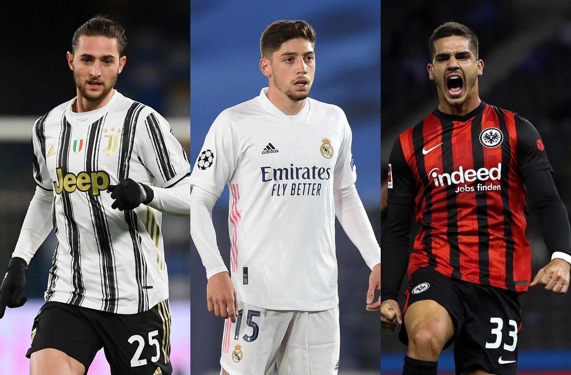 Adrien Rabiot of Juventus, Federico Valverde of Real Madrid, Andre Silva of Eintracht Frankfurt