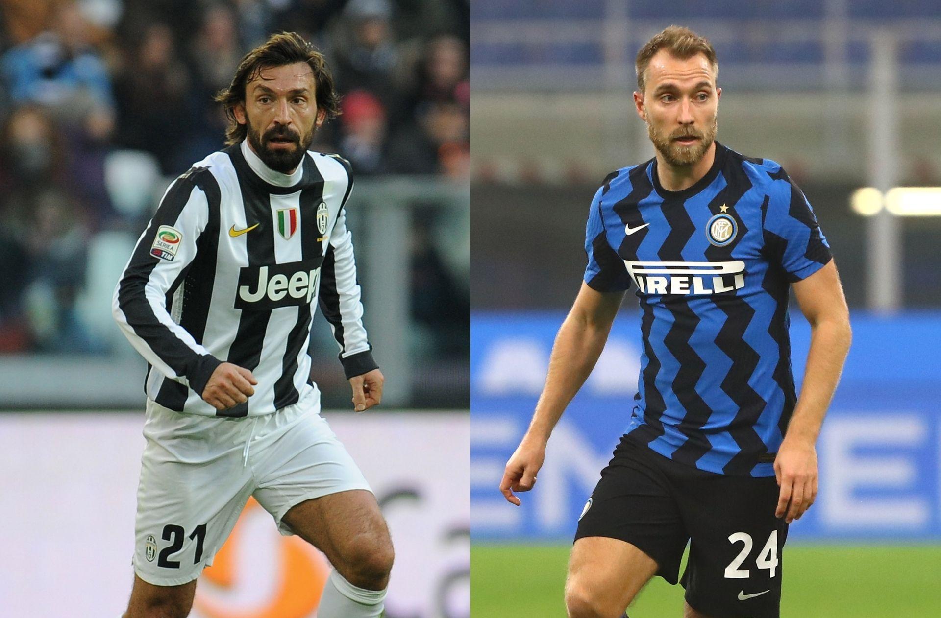 Andrea Pirlo of Juventus, Christian Eriksen of Inter Milan