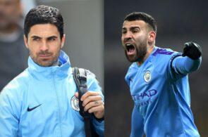 Mikel Arteta and Nicolas Otamendi, Manchester City