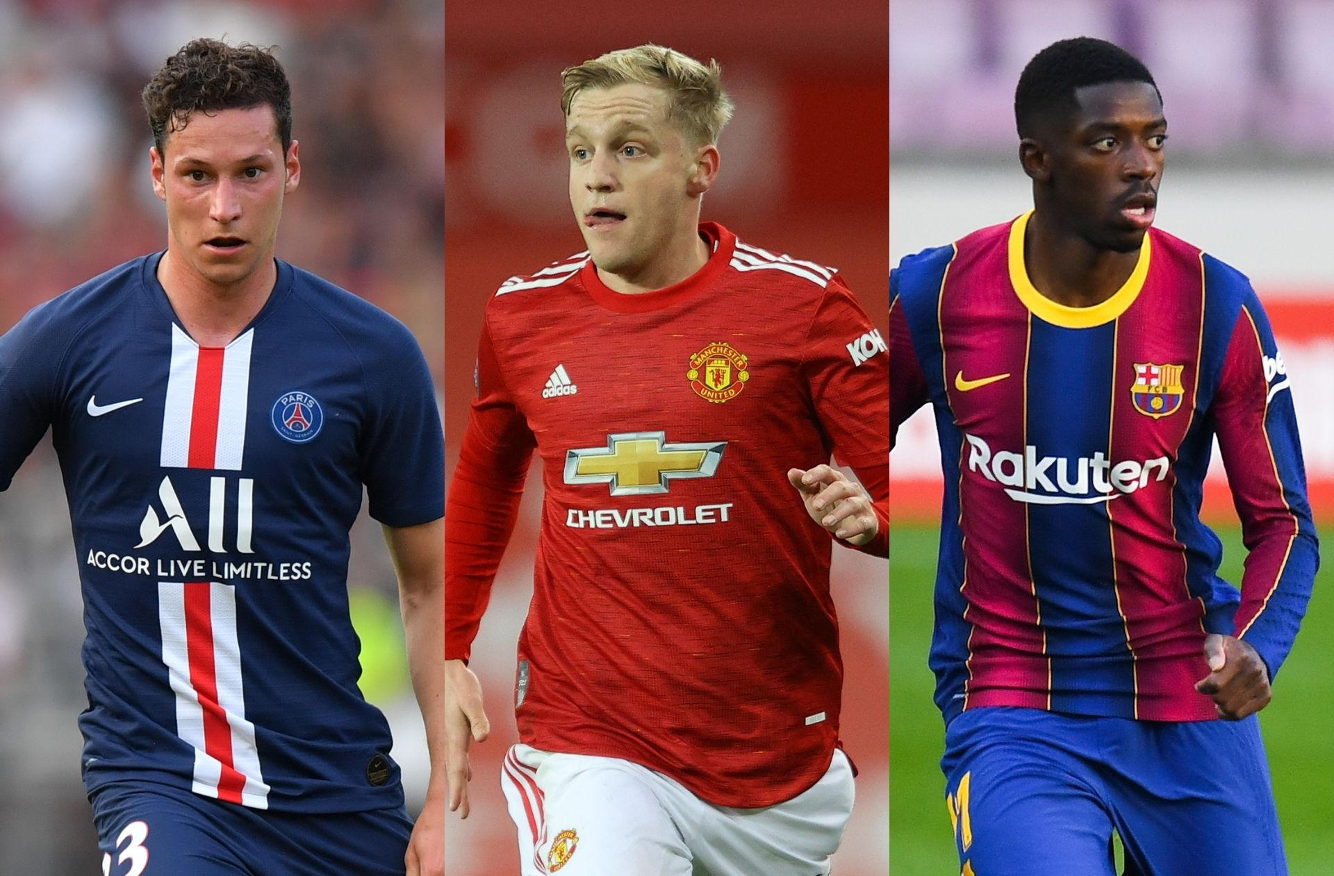 Julian Draxler of Paris Saint-Germain, Donny van de Beek of Manchester United, Ousmane Dembele of FC Barcelona