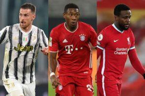 Aaron Ramsey of Juventus, David Alaba of Bayern Munich, Divock Origi of Liverpool