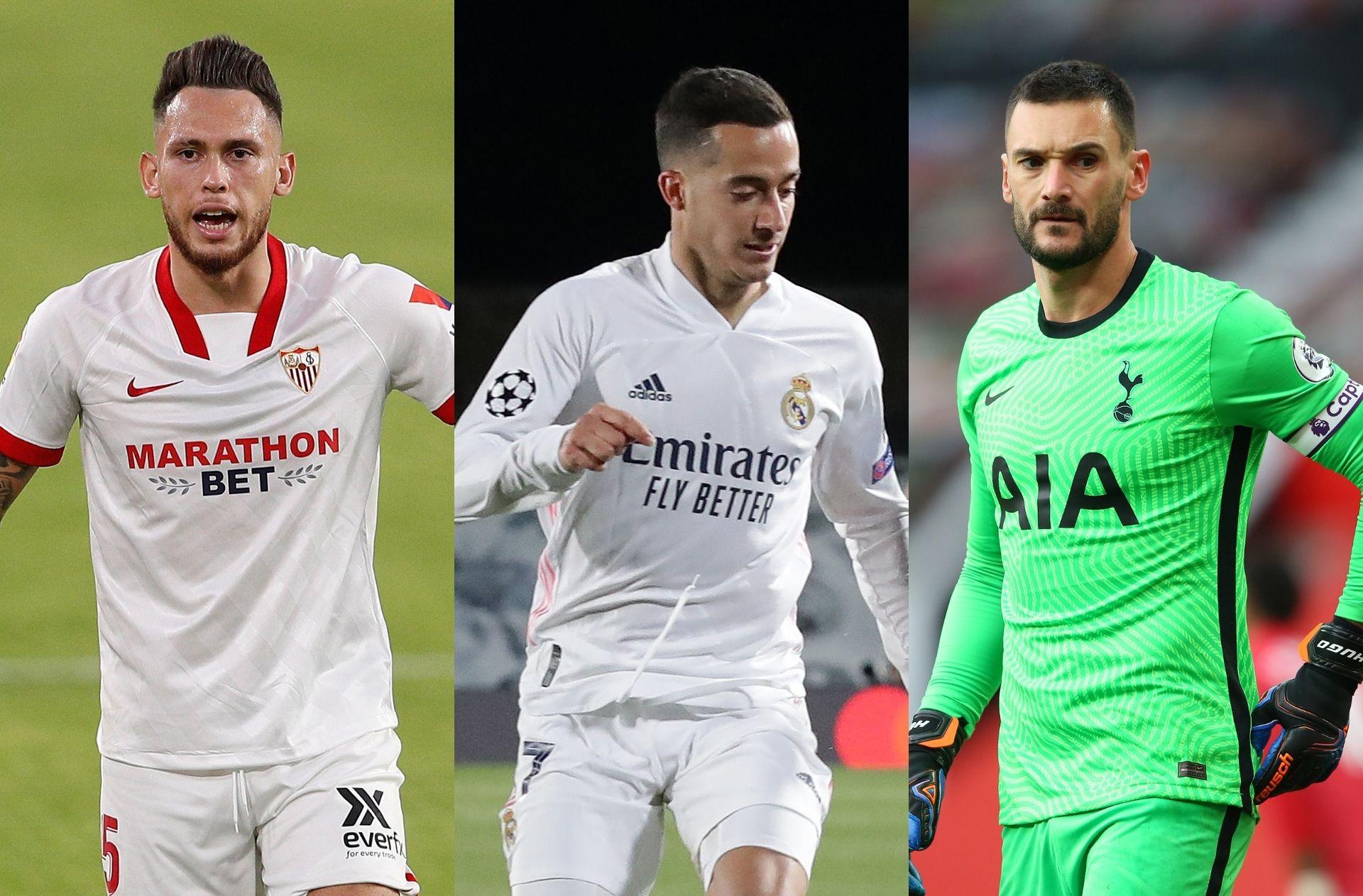 Lucas Ocampos of Sevilla, Lucas Vazquez of Real Madrid, Hugo Lloris of Tottenham