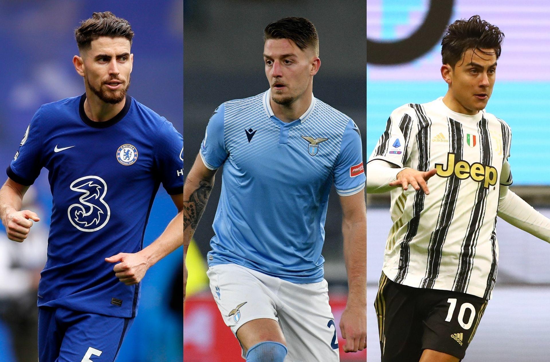 Jorginho of Chelsea, Sergej Milinkovic-Savic of Lazio, Paulo Dybala of Juventus
