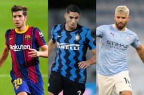Sergio Roberto of FC Barcelona, Achraf Hakimi of Inter Milan, Sergio Aguero of Manchester City