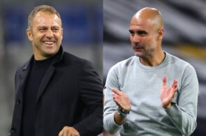 Hansi Flick of Bayern Munich, Pep Guardiola of Manchester City