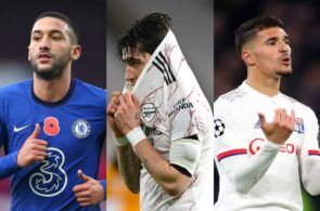 Hakim Ziyech of Chelsea, Hector Bellerin of Arsenal, Houssem Aouar of Lyon