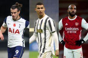 Gareth Bale of Tottenham, Cristiano Ronaldo of Juventus, Alexandre Lacazette of Arsenal
