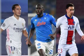 Lucas Vazquez of Real Madrid, Kalidou Koulibaly of Napoli, Julian Draxler of Paris Saint-Germain