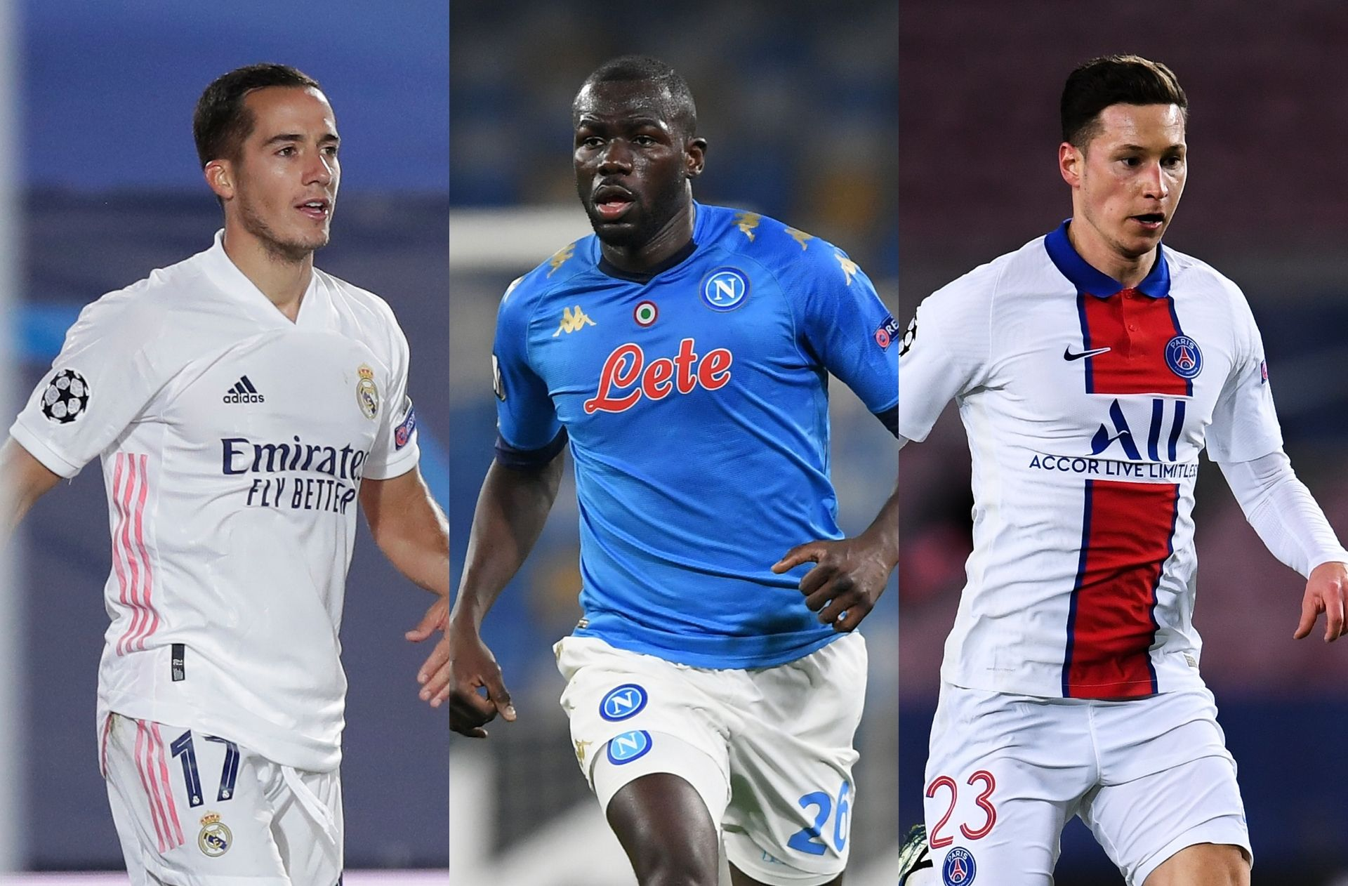 Lucas Vazquez of Real Madrid, Kalidou Koulibaly of Napoli, Julian Draxler of Paris Saint-Germain