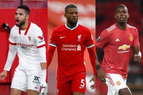 Youssef En-Nesyri of Sevilla, Georginio Wijnaldum of Liverpool, Paul Pogba Manchester United