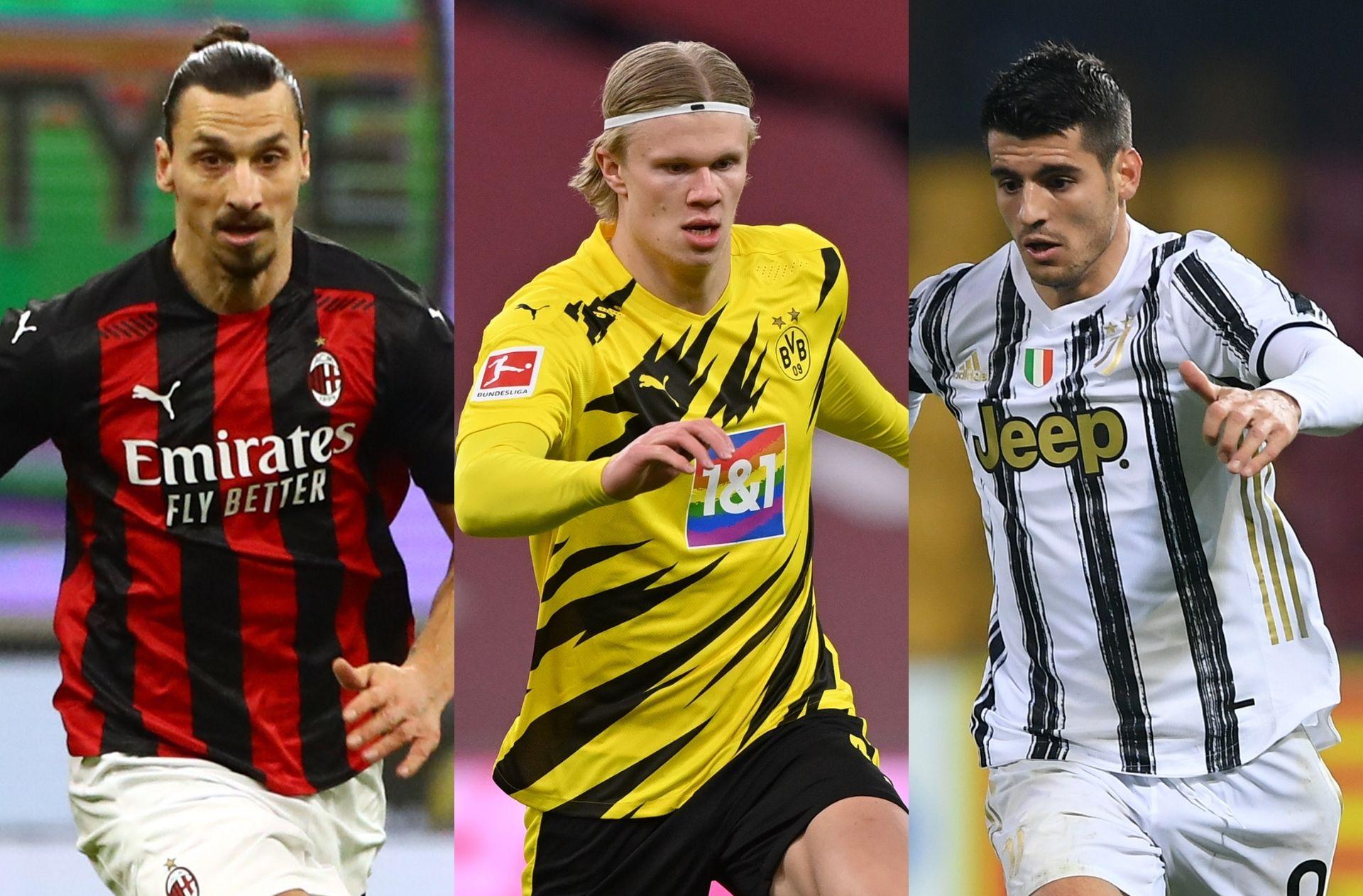 Zlatan Ibrahimovic of AC Milan, Erling Haaland of Borussia Dortmund, Alvaro Morata of Juventus