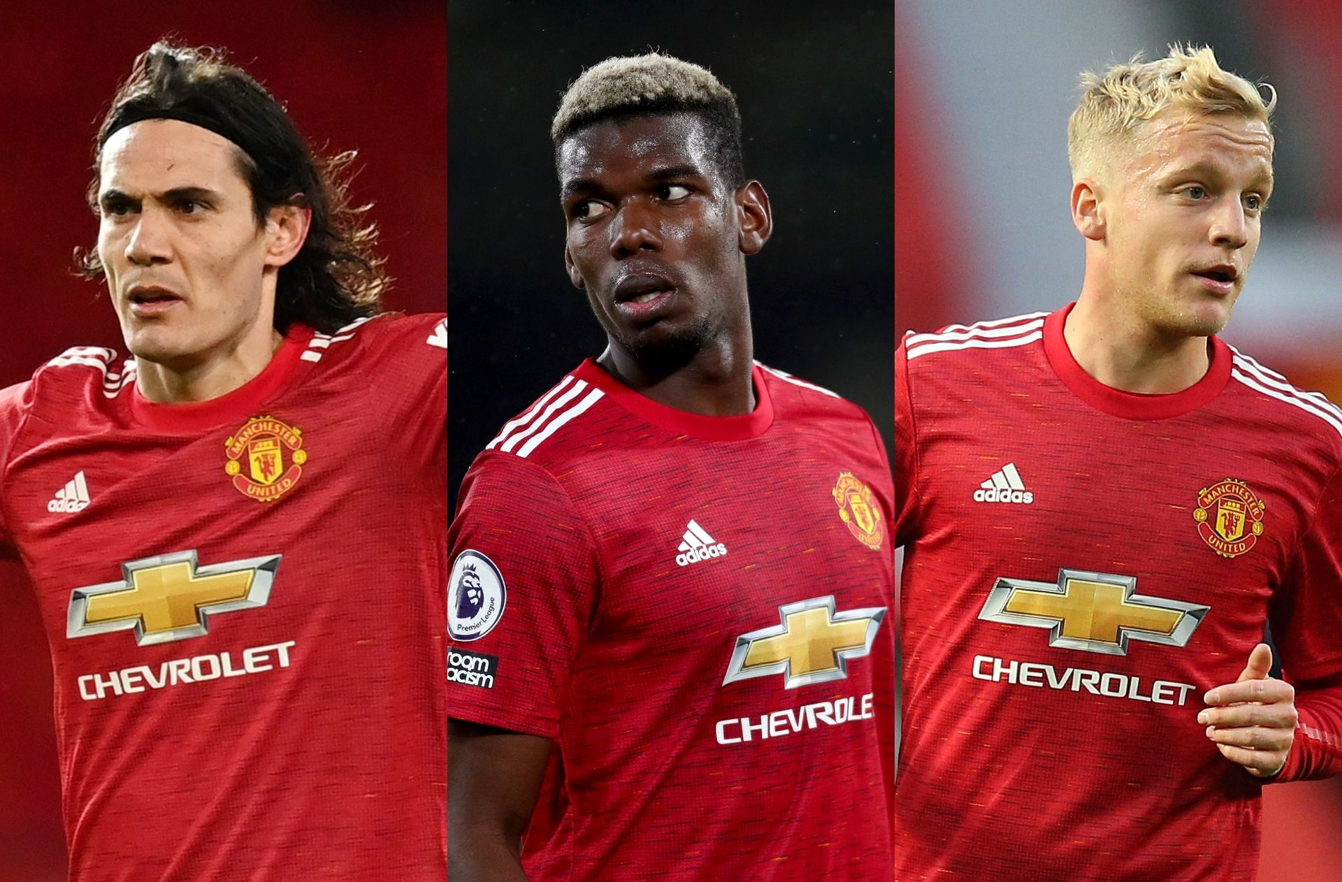Edinson Cavani, Paul Pogba, Donny van de Beek - Manchester United