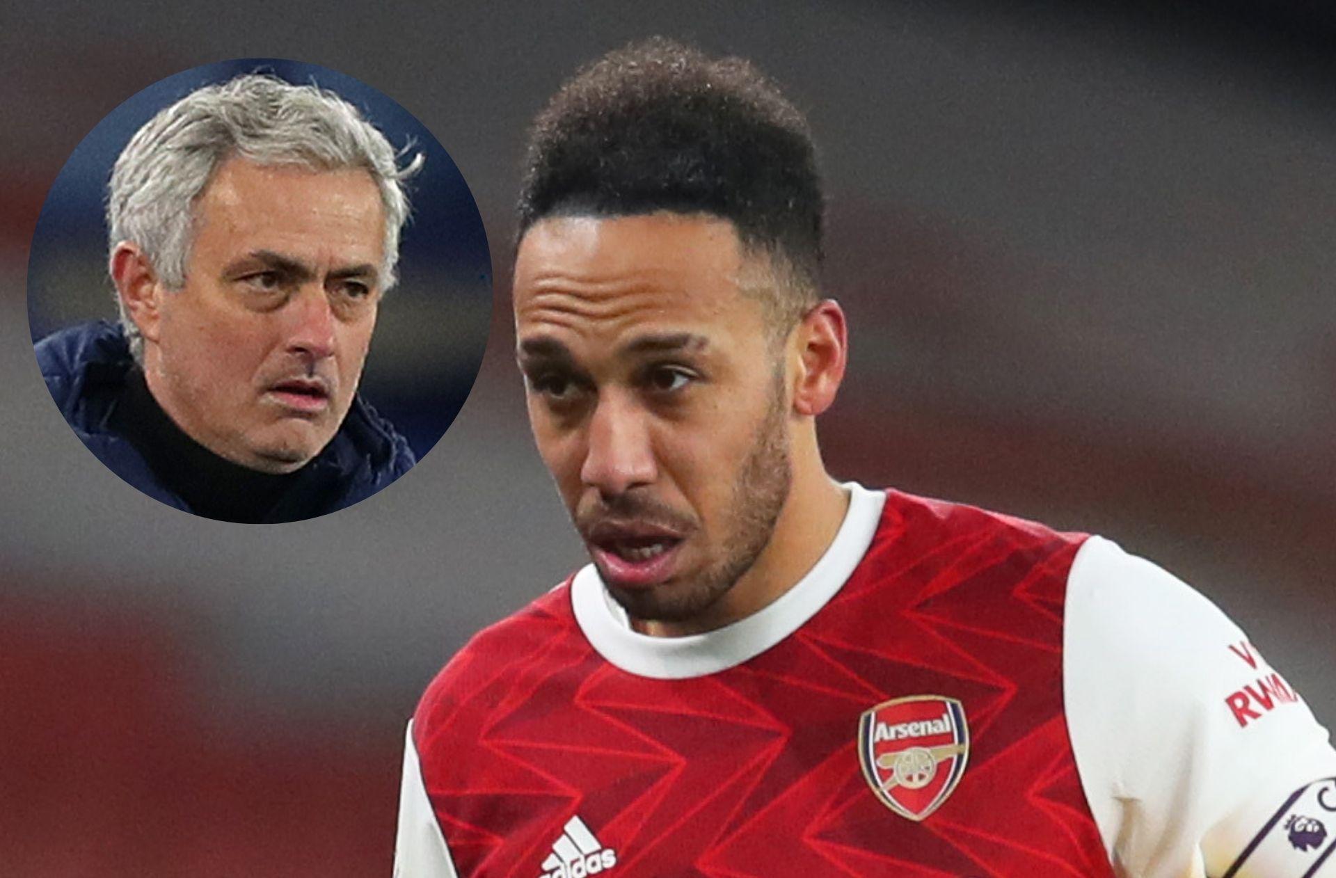 Pierre-emerick Aubameyang of Arsenal, Jose Mourinho of Tottenham