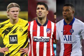 Erling Haaland, Luis Suarez, Kylian Mbappe