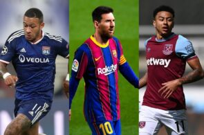 Memphis Depay of Olympique Lyon, Lionel Messi of FC Barcelona, Jesse Lingard of West Ham