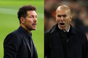 Diego Simeone of Atletico Madrid, Zinedine Zidane of Real Madrid
